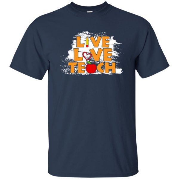 live love teach t shirt - navy blue