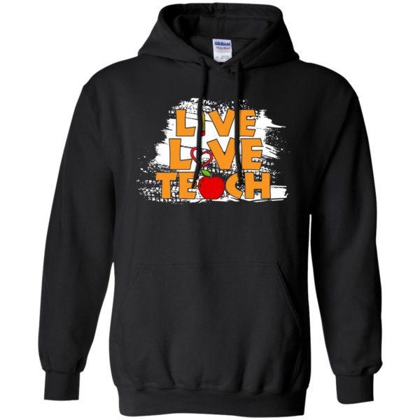 live love teach hoodie - black