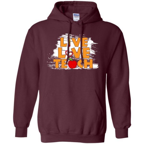 live love teach hoodie - maroon