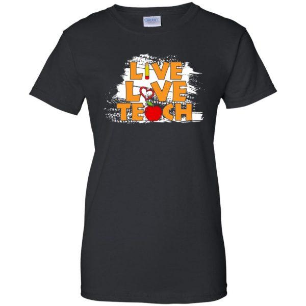 live love teach womens t shirt - lady t shirt - black