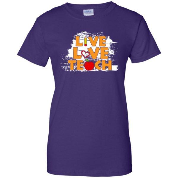 live love teach womens t shirt - lady t shirt - purple
