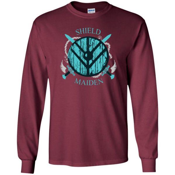 shieldmaiden shirt long sleeve - maroon