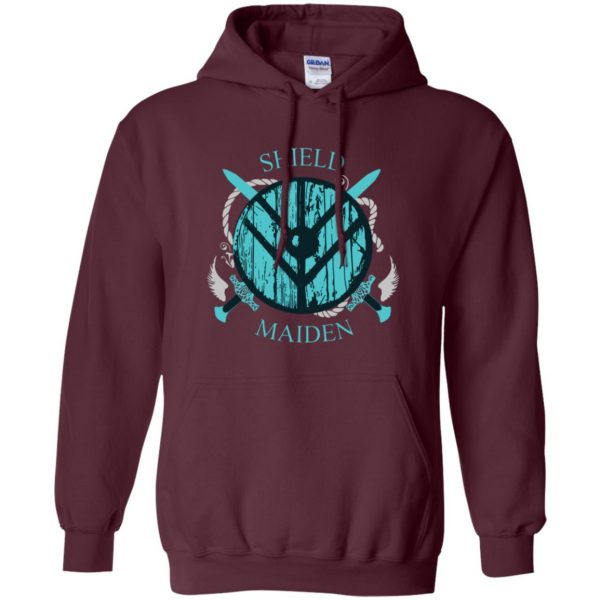 shieldmaiden shirt hoodie - maroon
