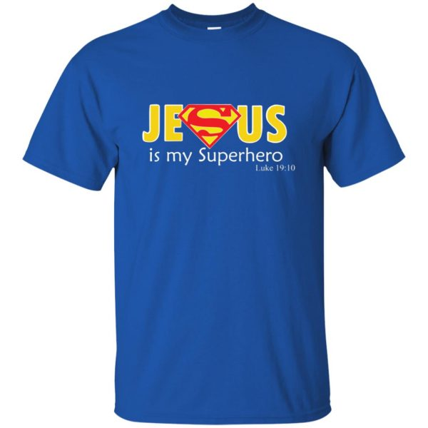 jesus super hero t shirt - royal blue