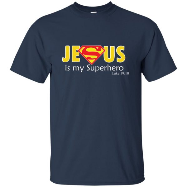 jesus super hero t shirt - navy blue