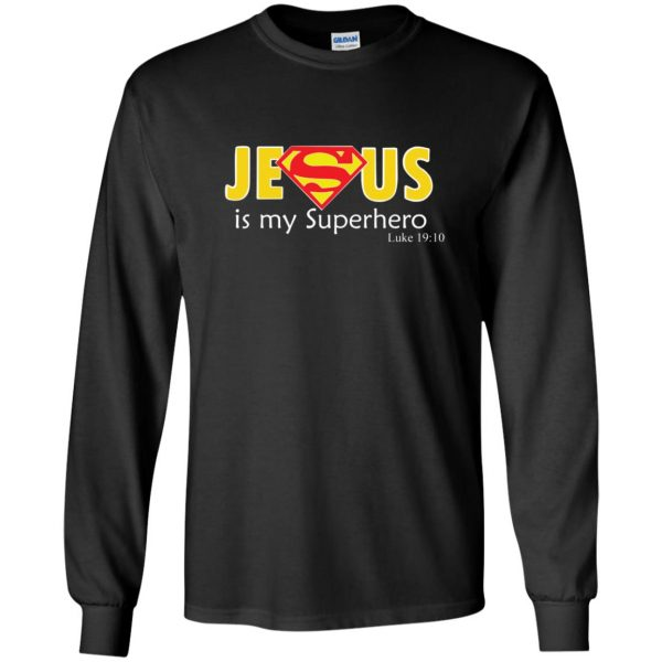 jesus super hero shirt long sleeve - black