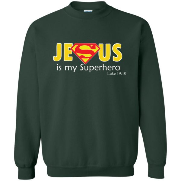 jesus super hero sweatshirt - forest green
