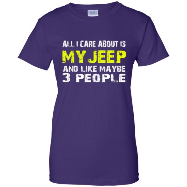 all i care about is my jeep womens t shirt - lady t shirt - purple