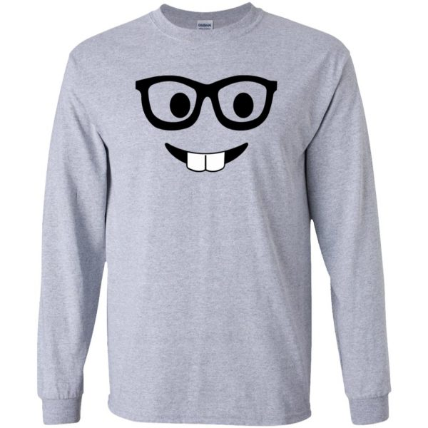 nerd emoji long sleeve - sport grey
