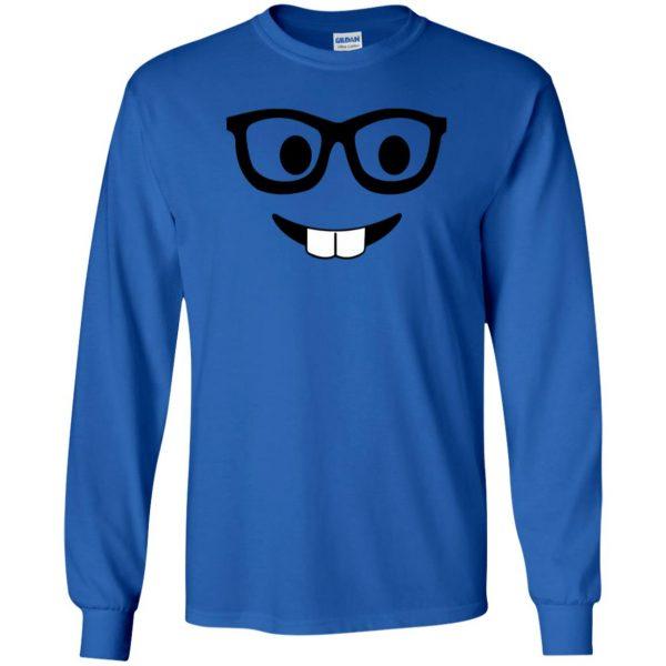 nerd emoji long sleeve - royal blue