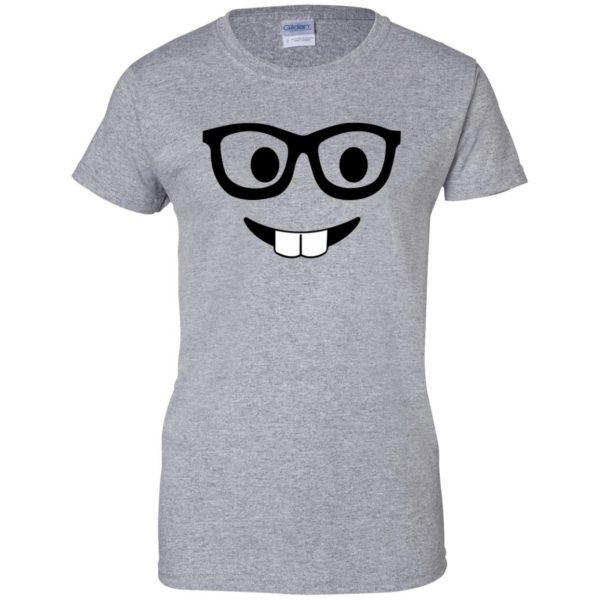 nerd emoji womens t shirt - lady t shirt - sport grey