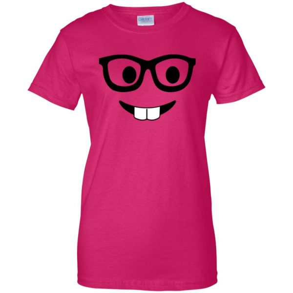 nerd emoji womens t shirt - lady t shirt - pink heliconia