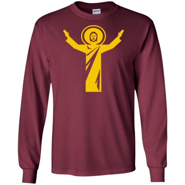 touchdown jesus long sleeve - maroon