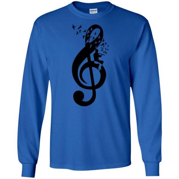 treble clefs long sleeve - royal blue