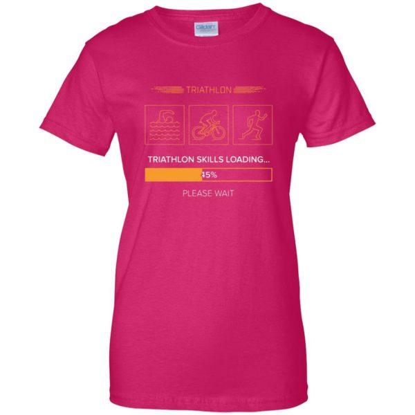 triathlon skills loading womens t shirt - lady t shirt - pink heliconia