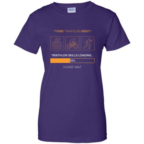 triathlon skills loading womens t shirt - lady t shirt - purple
