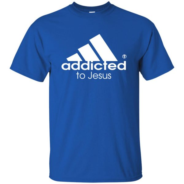 addicted to jesus t shirt - royal blue