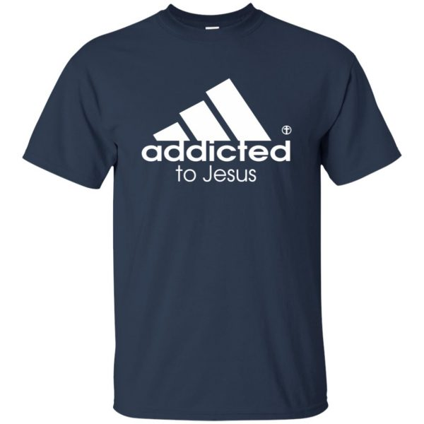 addicted to jesus t shirt - navy blue