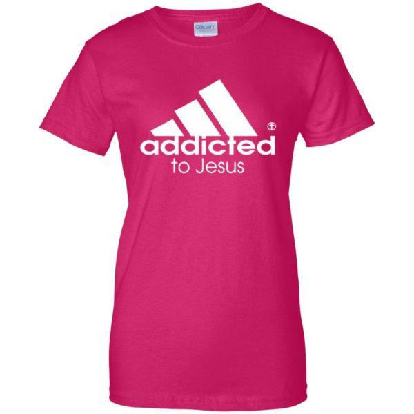 addicted to jesus womens t shirt - lady t shirt - pink heliconia