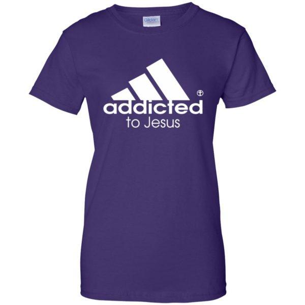 addicted to jesus womens t shirt - lady t shirt - purple