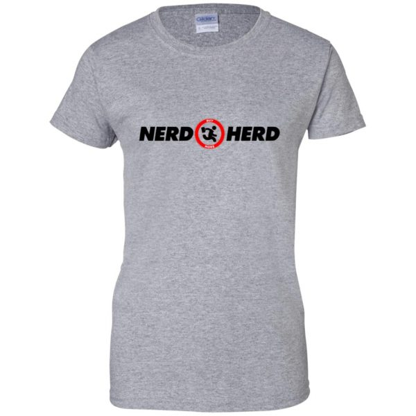 nerd herd womens t shirt - lady t shirt - sport grey