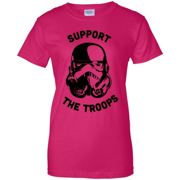 support the troops womens t shirt - lady t shirt - pink heliconia
