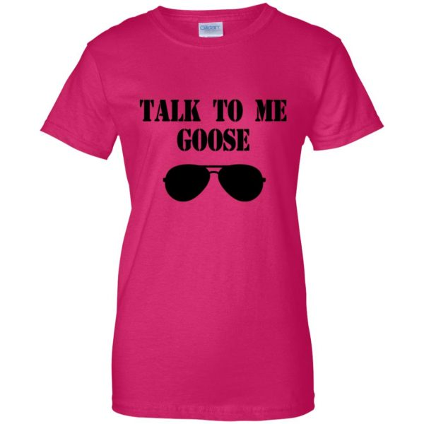 talk to me goose womens t shirt - lady t shirt - pink heliconia