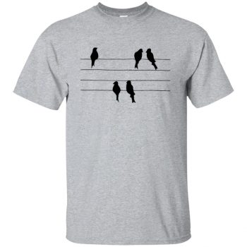 birds on a wire t shirt - sport grey
