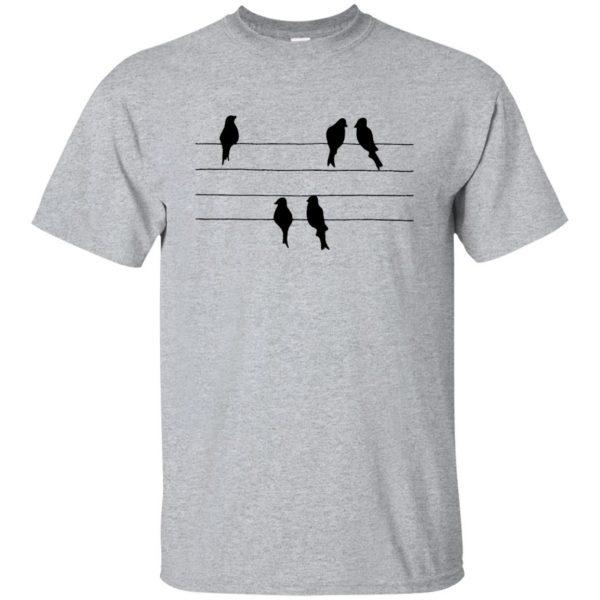 birds on a wire t shirt - sport grey
