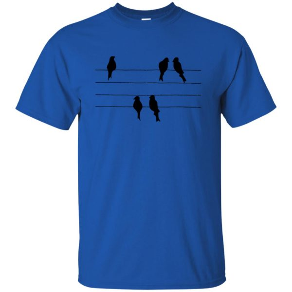 birds on a wire t shirt - royal blue