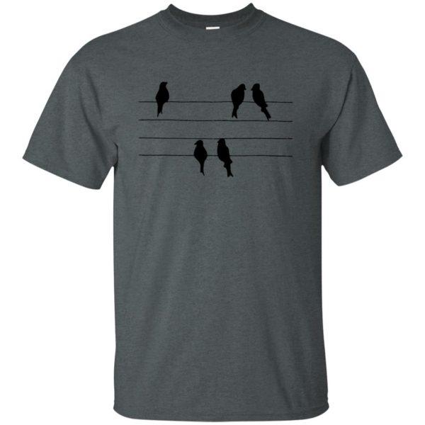 birds on a wire t shirt - dark heather