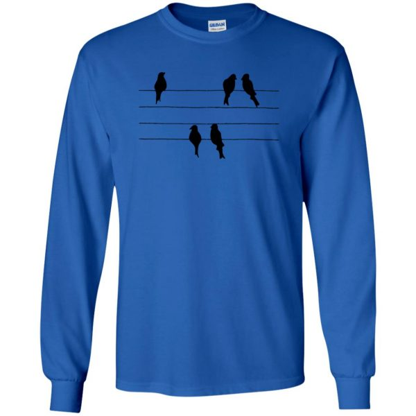 birds on a wire long sleeve - royal blue