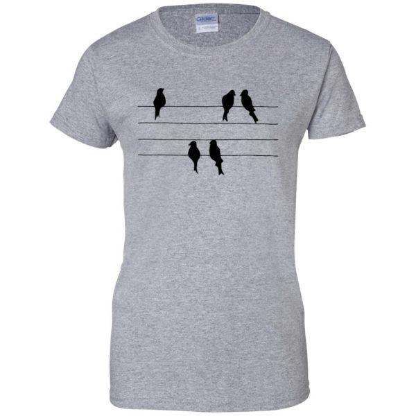 birds on a wire womens t shirt - lady t shirt - sport grey
