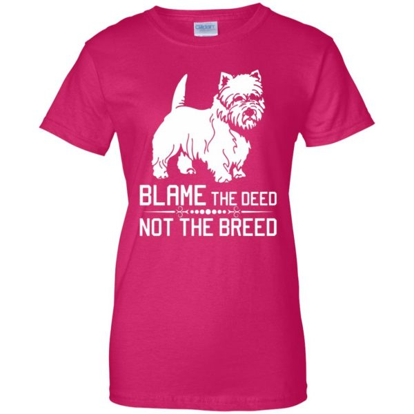 cairn terrier womens t shirt - lady t shirt - pink heliconia
