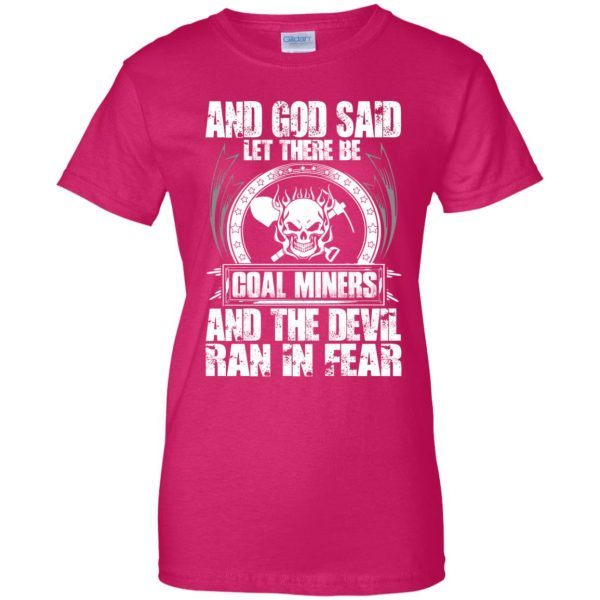 coal miner womens t shirt - lady t shirt - pink heliconia