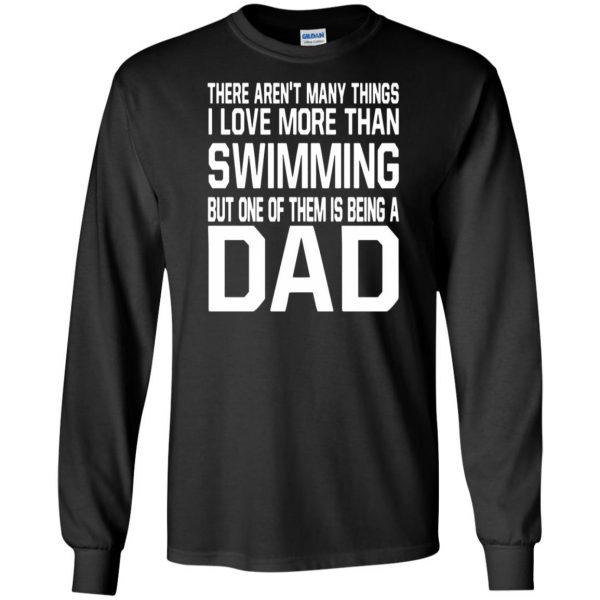 swim dad t shirt long sleeve - black