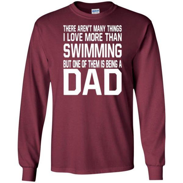 swim dad t shirt long sleeve - maroon
