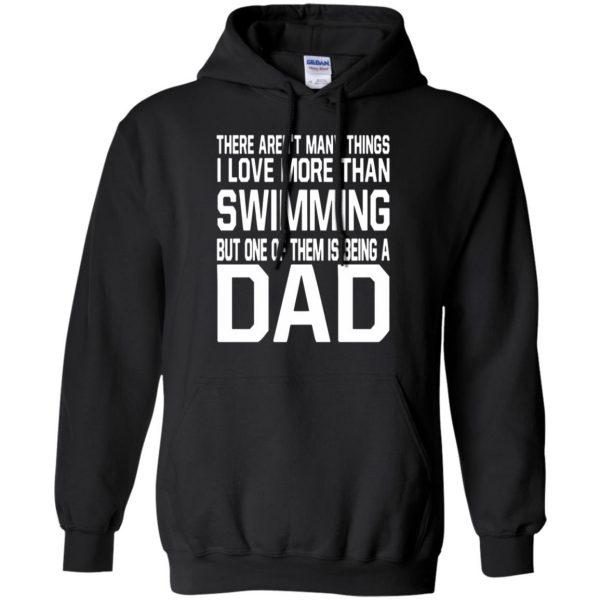swim dad t shirt hoodie - black