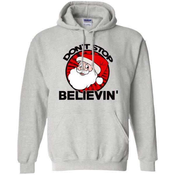 don't stop believing santa hoodie - ash