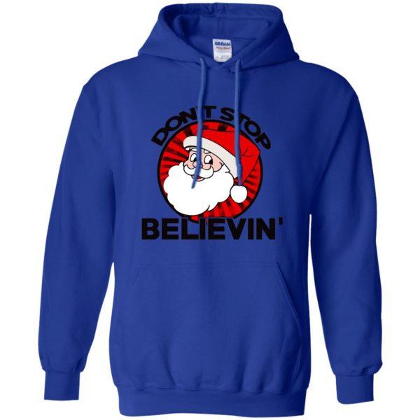 don't stop believing santa hoodie - royal blue
