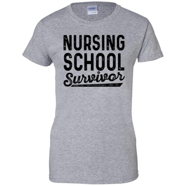 Nursing School Survivor womens t shirt - lady t shirt - sport grey