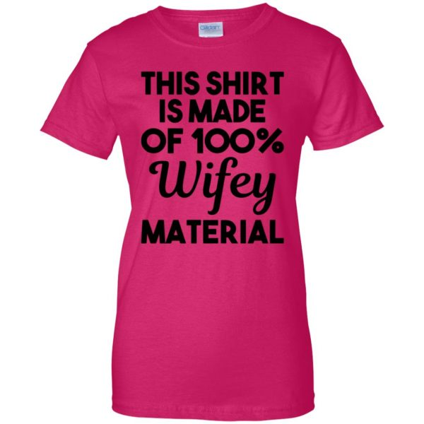 wifey material womens t shirt - lady t shirt - pink heliconia
