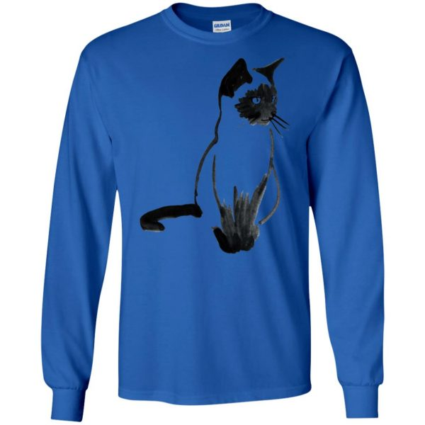 siamese cat long sleeve - royal blue