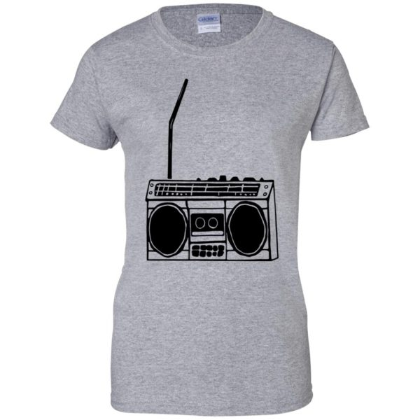 boom box womens t shirt - lady t shirt - sport grey