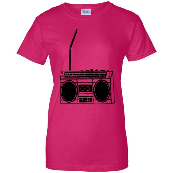boom box womens t shirt - lady t shirt - pink heliconia