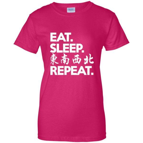 mahjong womens t shirt - lady t shirt - pink heliconia