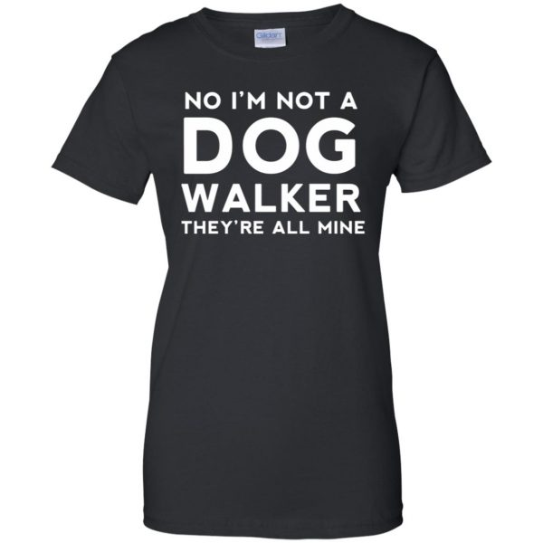 dog walker womens t shirt - lady t shirt - black