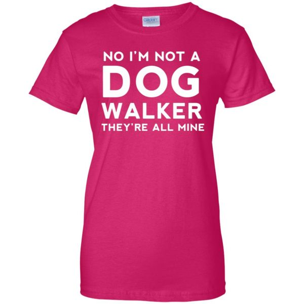 dog walker womens t shirt - lady t shirt - pink heliconia