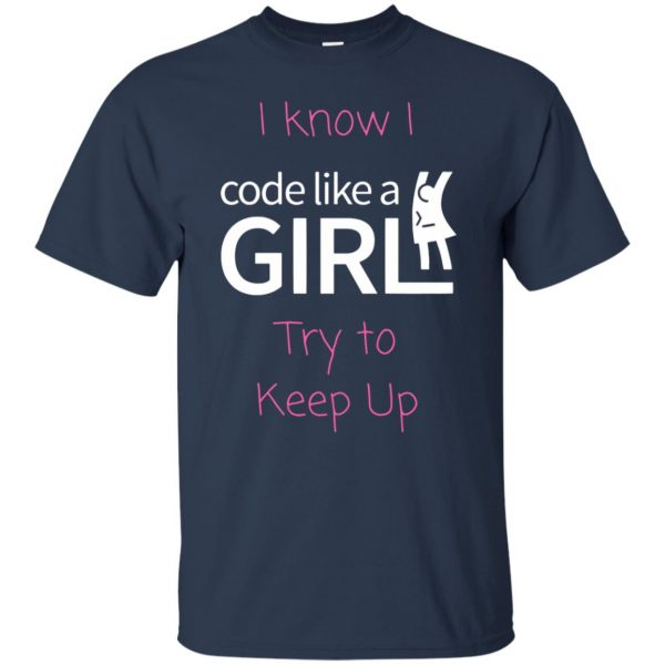 code like a girl t shirt - navy blue