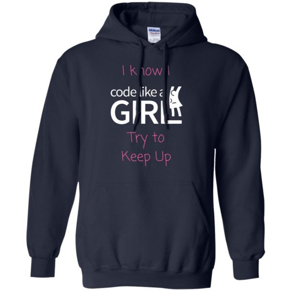 code like a girl hoodie - navy blue